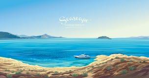 Seascape med yachten förmodligen det medelhavs- vektor illustrationer
