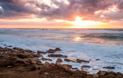 Seascape, Mediterranean Sea, Israel. Seascape, sunset over the Mediterranean Sea, Israel Royalty Free Stock Photos