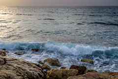 Seascape, Mediterranean sea in winter evening. Tel Aviv Stock Image