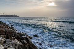 Seascape, Mediterranean sea in winter evening. Tel Aviv Royalty Free Stock Photography