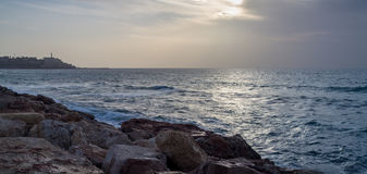 Seascape, Mediterranean sea in winter evening. Tel Aviv Royalty Free Stock Photos