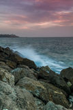 Seascape, Mediterranean sea in winter evening. Tel Aviv Stock Photo
