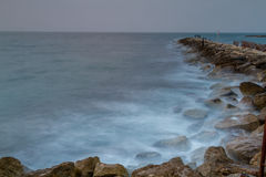Seascape, Mediterranean sea in winter evening. Tel Aviv Royalty Free Stock Image