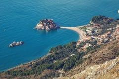 Seascape Montenegro. Budva e Sveti Stefan. imagem de stock royalty free