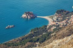 Seascape Montenegro. Budva and Sveti Stefan. Royalty Free Stock Image