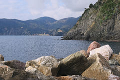 Seascape. Monterosso al Mare is located on the other side of the Stock Photos