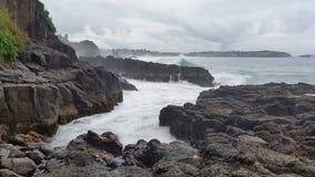Seascape Moody Storm Waves on Rocks stock video