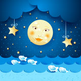 Seascape with moon. Fantasy seascape with moon and stars, illustration Royalty Free Stock Photo