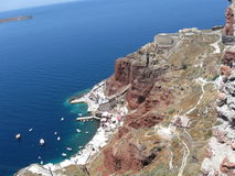 Seascape and mountain. Santorini seascape landscape nature texture stock photos