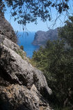 Seascape mountain view Mallorca. Walking path nature landscape view in Tramuntana mountains between Soller and Cala Tuent, Mallorca, Spain Royalty Free Stock Images