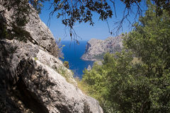 Seascape mountain view Mallorca. Walking path nature landscape view in Tramuntana mountains between Soller and Cala Tuent, Mallorca, Spain Royalty Free Stock Photos