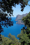 Seascape mountain view Mallorca. Walking path nature landscape view in Tramuntana mountains between Soller and Cala Tuent, Mallorca, Spain Stock Photography