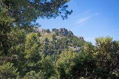 Seascape mountain view Mallorca. Walking path nature landscape view in Tramuntana mountains between Soller and Cala Tuent, Mallorca, Spain Stock Photo