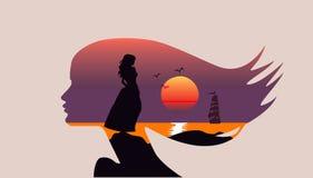 Seascape na silhueta - perfil da cara da mulher, exposição dobro - mar, por do sol, veleiro Imagem de Stock Royalty Free