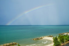 Seascape  and natural rainbow after rain Royalty Free Stock Photo
