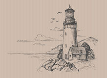 Seascape and nature doodle. Lighthouse vector drawing, seascape and nature doodle Royalty Free Stock Image