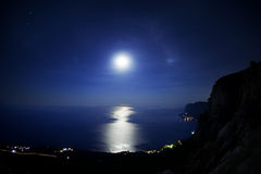 Seascape at night. Royalty Free Stock Photo