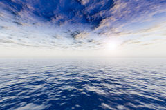 Seascape. Ocean & evening sky. 3D seascape. Ocean and sky in the summer evening Royalty Free Stock Images
