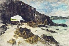 Seascape Ocean, Thailand. Digital Art Impasto Oil Painting by Ph. Otographer stock photos