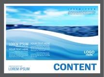 Seascape och för presentationsorientering för blå himmel bakgrund för mall för design för turism reser affär illustration stock illustrationer