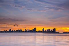 Seascape och solnedgång Arkivfoto