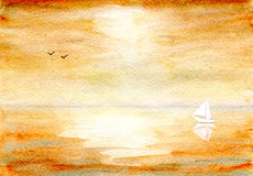 Seascape in ocher. Seascape in color ocher, yacht and birds on the horizon, hand-painted watercolor illustration and paper texture Stock Photos