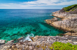 Seascape od punktu widzenia przy Tachai wyspą, Phang nga Obrazy Royalty Free
