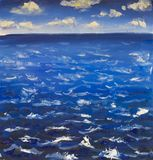 Seascape Oil painting. Blue sky clouds, sea. Water waves art canvas royalty free stock photography