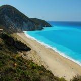 Long Beach, Milos beach, Azure lagoon, Lefkada Island stock photos