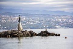 Seascape Opatija in Croatia with Sculpture Stock Photos