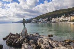 Seascape Opatija in Croatia with Sculpture Stock Image