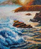 Seascape - Original oil painting on canvas - Sea Counter Light - Impressionism - Modern Art stock illustration