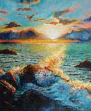 Seascape - Original oil painting on canvas - A sea wave beating against a stone. Counter Light - Impressionism - Modern Art vector illustration