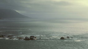 Seascape. Overview of atlantic oceanscape next to the Cape Town City stock footage