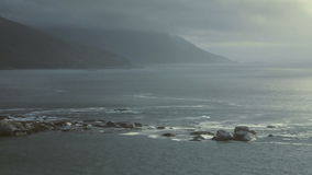Seascape. Overview of atlantic oceanscape next to the Cape Town City stock video footage