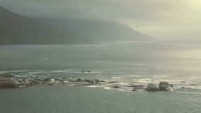 Seascape. Overview of atlantic oceanscape next to the Cape Town City stock video