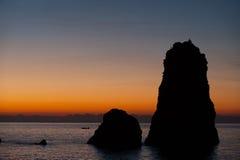 Seascape på gryning royaltyfri fotografi
