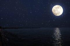 Seascape på månsken och stjärnljus Royaltyfria Bilder