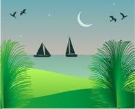 Seascape på skymning vektor illustrationer