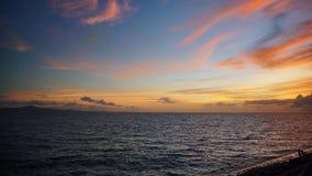 Seascape på solnedgången Royaltyfri Fotografi