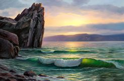 Seascape painting .Sea wave. Morning on sea, wave, illustration, painting acrylic paints on a canvas royalty free stock photos