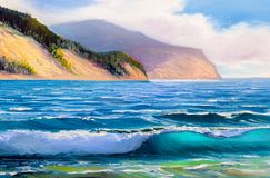 Seascape painting .Sea wave. Original oil painting seascape, waves of the sea, blue sky, clouds, on canvas. Impasto artwork. Impressionism art royalty free stock photos