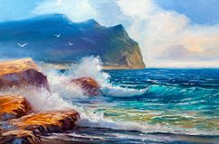 Seascape painting .Sea wave. stock illustration