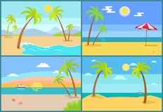 Seascape and Palms Collection Vector Illustration. Seascape and palms collection, sea and umbrella, tropic trees on coast, set of seascapes with beach vector illustration