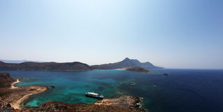 Seascape panorama of greek islands. A panoramic view from Gramvousa, Crete, Greece over the sea and islands nearby combining crystal clear water of turquoise Stock Photos