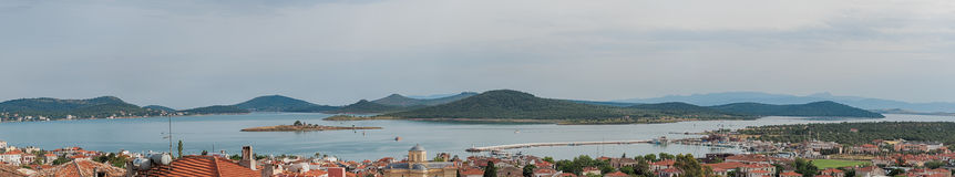Seascape panorama of touristic town, Cunda Alibey Island, Ayvalik. It is a small island in the no Stock Photos