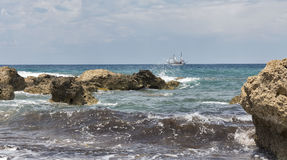 Seascape in Paphos, Cyprus. Royalty Free Stock Image