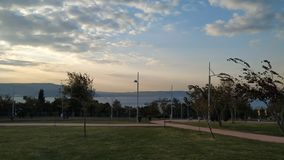 Sunset Çanakkale Dardanelles. Seascape from the park on a beautiful day stock photo
