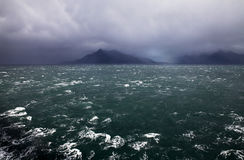Seascape in Patagonia, Chile. Strait of Magellan as seen from a ship Royalty Free Stock Photo