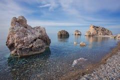 Seascape with Petra tou Romiou in Pafos, Cyprus. Stock Photos